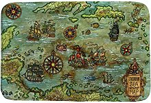 Ruchen Bath Rug Blue Caribbean Sea Map Pirate