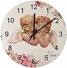 Ruchen Silent Wooden Wall Clock Cute Watercolor