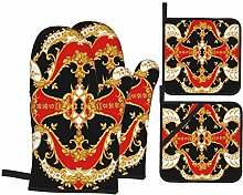 RUEMAT Oven Mitts and Pot Holders 4pcs Set,Rococo