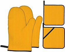 RUEMAT Oven Mitts and Pot Holders 4pcs Set,Yellow