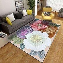 Rug 3D Flower Printing Retro Simple Carpet Living