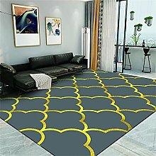 Rug Anti Slip Mat Desk Decor Golden gray square
