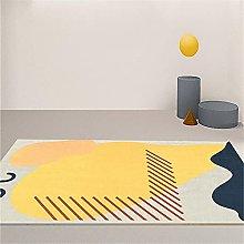 Rug bedside rug Yellow gray modern doodle