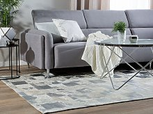 Rug Beige and Silver Cowhide Leather 200 x 140 cm