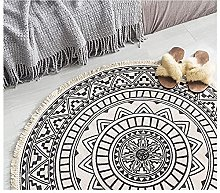 Rug Beige Black Area Rugs Round Cotton Carpet With