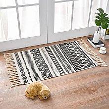 Rug Beige Black Ethnic Area Rugs Cotton Carpet