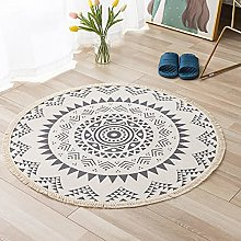 Rug Beige Blue Area Rugs Round Cotton Carpet With