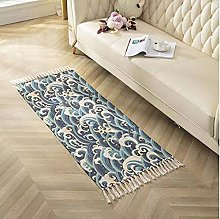 Rug Beige Blue Ripple Area Rugs Cotton Carpet With