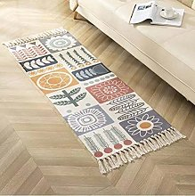 Rug Beige Checkered Flowers Area Rugs Cotton