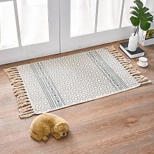 Rug Beige Gray Ethnic Area Rugs Cotton Carpet With