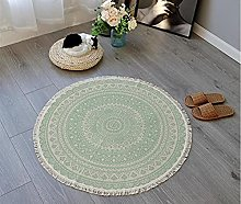 Rug Beige Green Area Rugs Round Cotton Carpet With