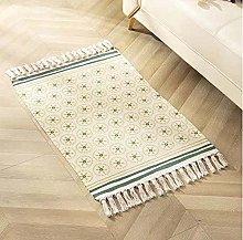 Rug Beige Green Flowers Area Rugs Cotton Carpet