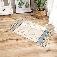 Rug Beige Green Geometric Area Rugs Cotton Carpet