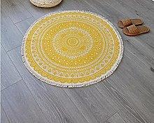 Rug Beige Yellow Area Rugs Round Cotton Carpet