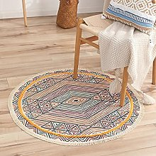 Rug Beige Yellow Stripes Area Rugs Round Cotton