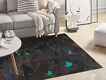 Rug Black and Blue Cowhide Leather 200 x 140 cm