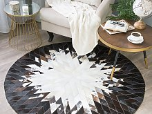 Rug Black and White Leather 140 cm Modern