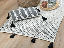 Rug Black and White Wool 80 x 150 cm with Tassels