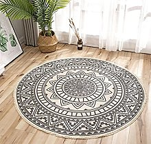 Rug Black Beige Area Rugs Round Cotton Carpet With