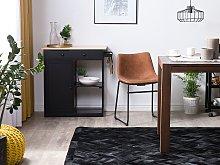 Rug Black Cowhide Leather 200 x 140 cm Pattern