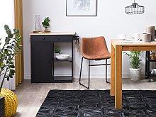 Rug Black Cowhide Leather 230 x 160 cm Pattern