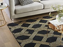 Rug Black with Gold Geometric Pattern Viscose with