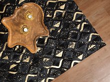 Rug Black with Gold Leather 160 x 230 cm Modern