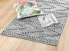 Rug Black with White 80 x 150 cm Tufted Geometric