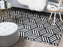 Rug Black with White Leather 140 x 200 cm Modern