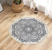 Rug Blue Beige Area Rugs Round Cotton Carpet With