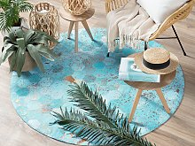 Rug Blue Leather 140 cm Modern Patchwork Turquoise