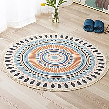 Rug Blue Orange Area Rugs Round Cotton Carpet With