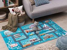 Rug Blue Polyester Multicolour for Kids