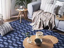 Rug Blue Viscose 140 x 200 cm Geometric Pattern