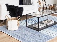 Rug Blue Viscose 140 x 200 cm Striped Geometric