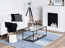 Rug Blue Viscose 160 x 230 cm Striped Geometric