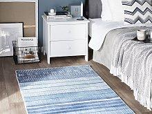 Rug Blue Viscose 80 x 150 cm Striped Geometric