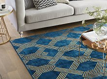 Rug Blue with Gold Geometric Pattern Viscose with