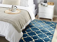 Rug Blue with Gold Quatrefoil Pattern Viscose with