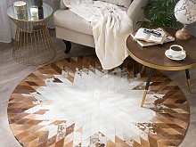 Rug Brown and White Leather 140 cm Modern