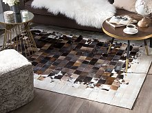 Rug Brown with Beige Leather 140 x 200 cm Modern