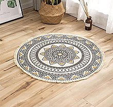 Rug Brown Yellow Area Rugs Round Cotton Carpet