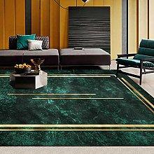 Rug Carpet, Dark Green Gold Line Frame Rug, for