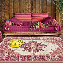 Rug Carpet, red and blue geometric ethnic style
