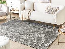 Rug Dark Grey Wool and Polyester 140 x 200 cm Hand