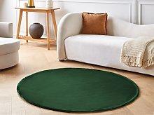 Rug Emerald Green Viscose Round 140 cm Hand Tufted