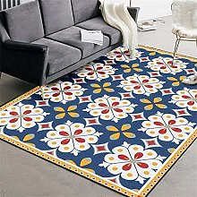 Rug Extra Large Area Denim blue white red flowers