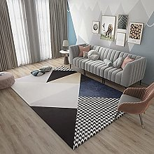 Rug fireplace rug Black blue simple geometric