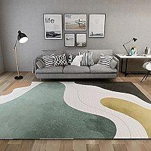 Rug fireplace rug Green yellow striped geometric
