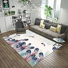 rug for bedroom Blue carpet, feather pattern, baby